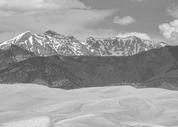 The Great Colorado Sand Dunes; Great Sand Dunes National Park And Preserve; Sand Dunes Black And White Prints; Sand Dunes Black And White Canvas Art; Colorado; Sand; Dunes; Nature Photography Prints;  Greeting Card featuring the photograph The Great Colorado Sand Dunes by James BO Insogna