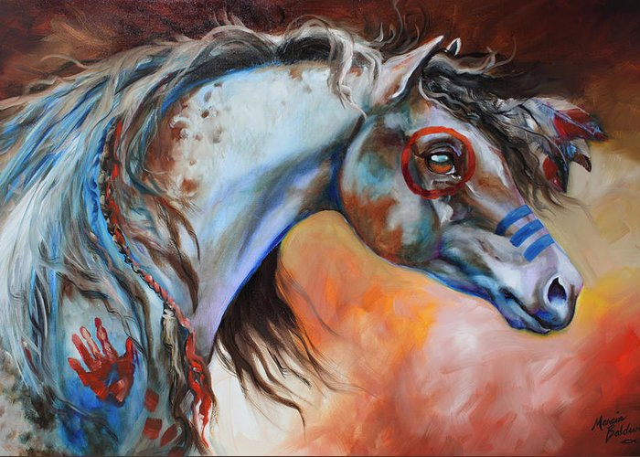 Horse Greeting Card featuring the painting The Great One by Marcia Baldwin