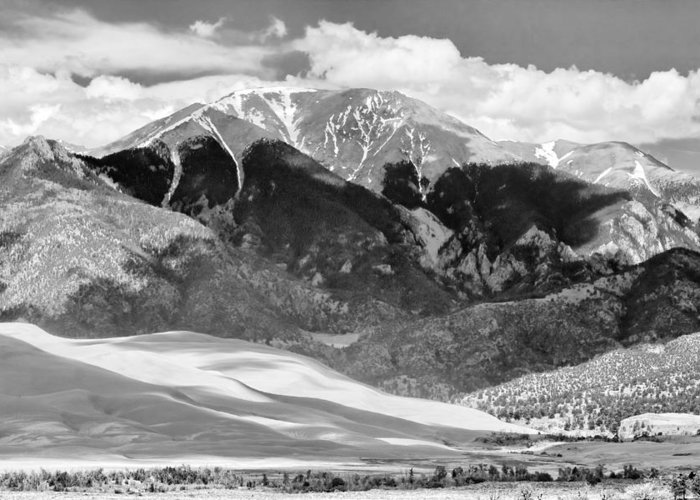 The Great Colorado Sand Dunes; Great Sand Dunes National Park And Preserve; Sand Dunes; Sand Dunes; Black And White Canvas Art; Black And White Colorado; Sand; Dunes; Nature Photography Prints; Landscape Photography Prints; Fine Art Photography; Insogna; The Lightning Man; Sand Dunes Prints For Sale; Commercial Photography Art Prints; Sand Dunes Greetings Card; Nature Photography; Nature; Galleries; Gallery; Landscape; Scenic Greeting Card featuring the photograph The Great Sand Dune Valley Bw by James BO Insogna