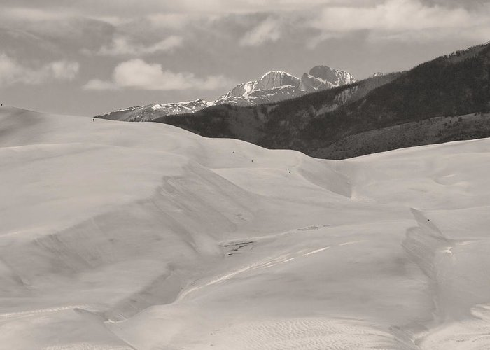 the Great Colorado Sand Dunes Greeting Card featuring the photograph The Great Sand Dunes Bw Sepia by James BO Insogna