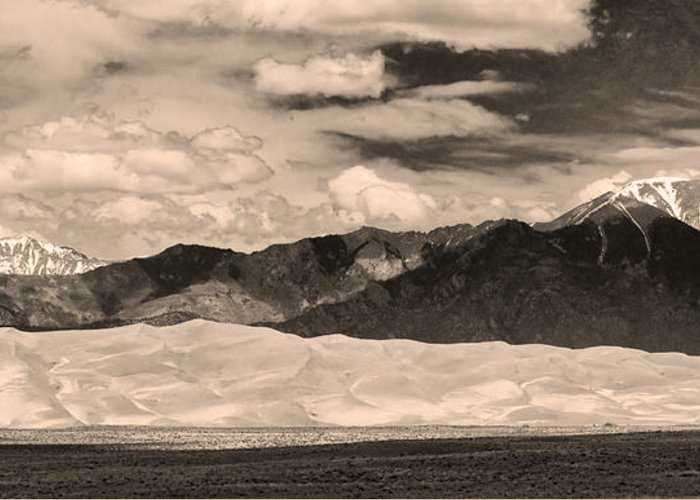 The Great Colorado Sand Dunes; Great Sand Dunes National Park And Preserve; Sepia Sand Dunes Panorama Prints; Sepia Sand Dunes Panorama Canvas Art; Colorado; Sand; Unes; Nature Photography Prints; Landscape  Greeting Card featuring the photograph The Great Sand Dunes Panorama 2 Sepia by James BO Insogna