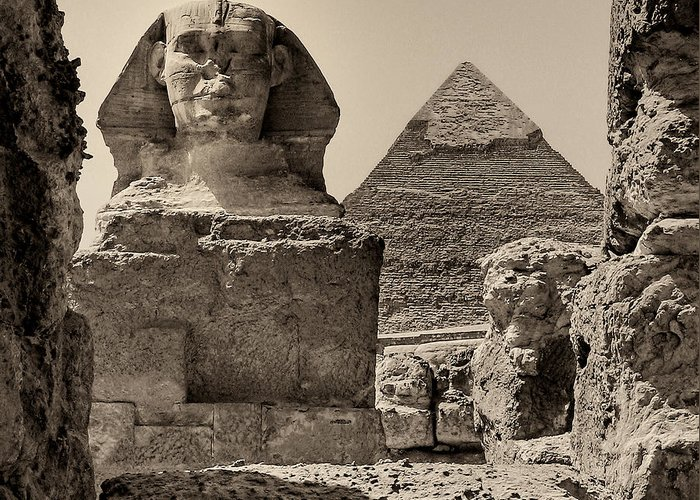 Great Sphinx Greeting Card featuring the photograph The Great Sphinx And Pyramid Of Khafre by Nigel Fletcher-Jones