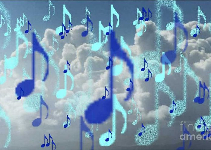 Greeting Card featuring the digital art The Greater Clouds Of Witnesses We Love The Blues Too by Brenda L Spencer