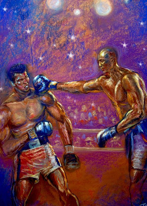 Boxing Greeting Card featuring the pastel the Greatest Muhammed Ali vs Jack Johnson by Tommy Winn