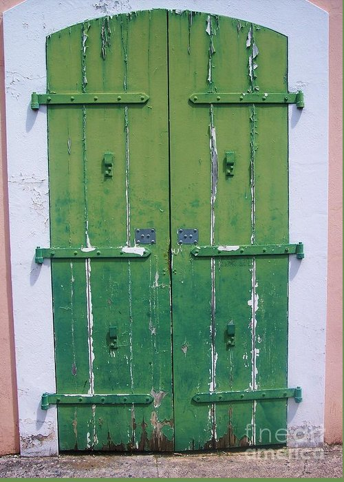 Architecture Greeting Card featuring the photograph The Green Door by Debbi Granruth