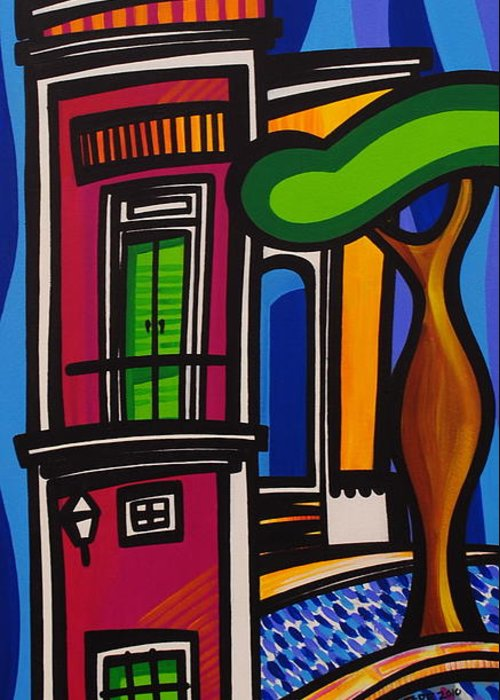 Puerto Rico Greeting Card featuring the painting The Green Door by Mary Tere Perez