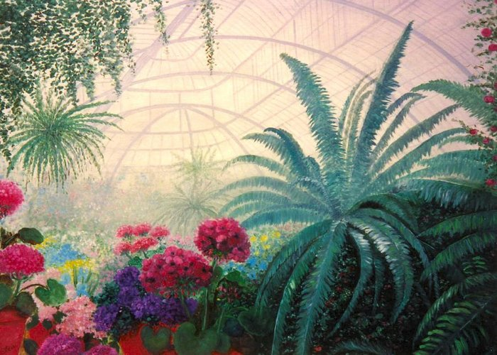 Greenhouse Greeting Card featuring the digital art The Green House by Jeanene Stein