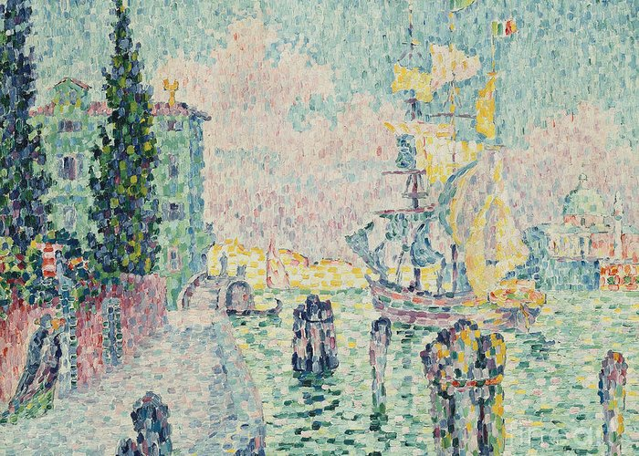 Signac Greeting Card featuring the painting The Green House, Venice by Paul Signac