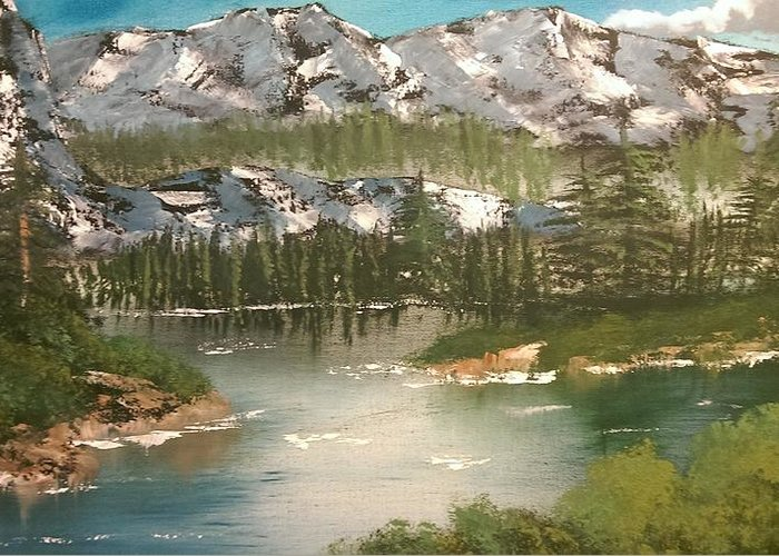 Landcape Greeting Card featuring the painting The Green Lake by Elena Doneva