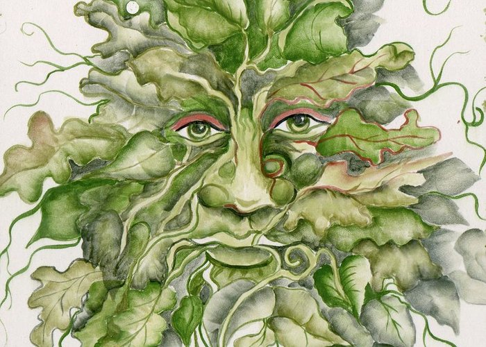 Green Man Greeting Card featuring the ceramic art The Green Man by Angelina Whittaker Cook