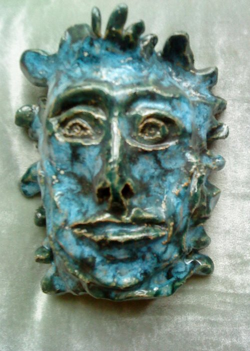 Green Man Greeting Card featuring the ceramic art The Green Man by Paula Maybery