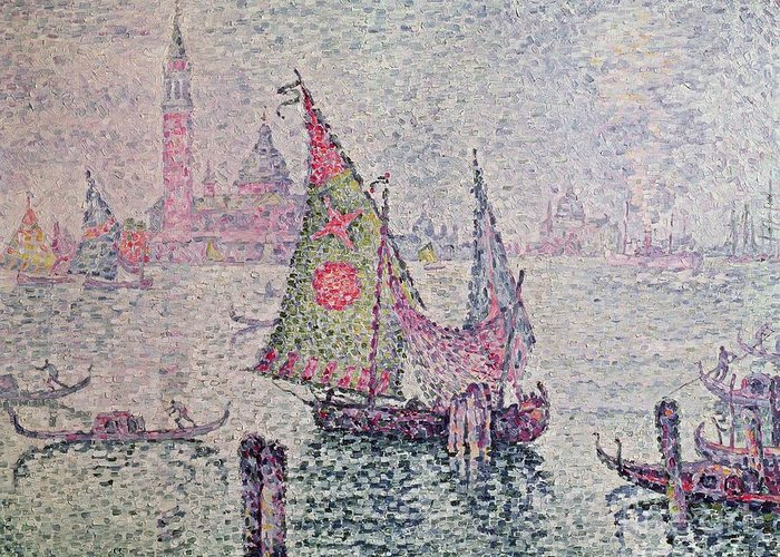 The Green Sail Greeting Card featuring the painting The Green Sail by Paul Signac