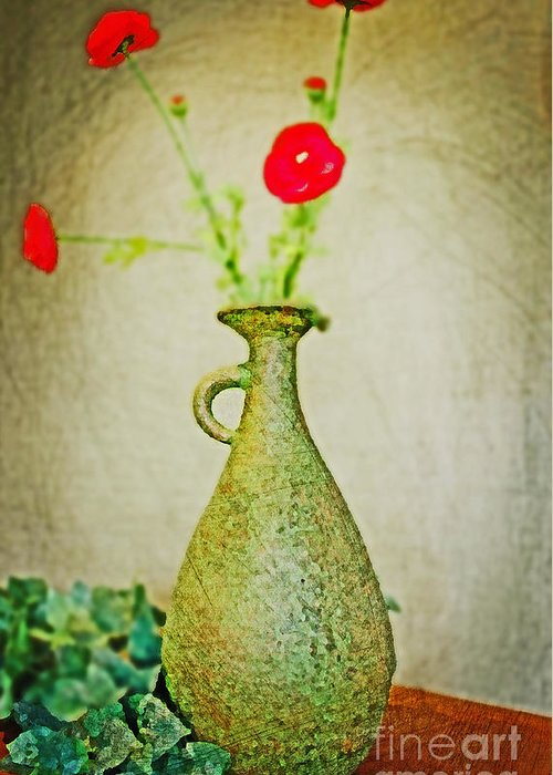 Vase Greeting Card featuring the digital art The Green Vase by Don Baker