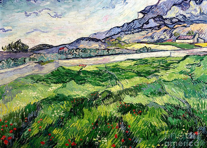 The Greeting Card featuring the painting The Green Wheatfield Behind The Asylum by Vincent van Gogh