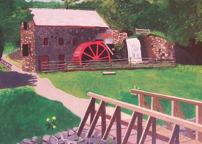 Gristmill Greeting Card featuring the painting The Gristmill At Wayside Inn by William Demboski