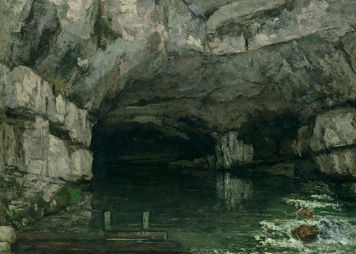 The Greeting Card featuring the painting The Grotto Of The Loue by Gustave Courbet