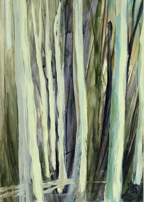 Tree Greeting Card featuring the painting The Grove by Andrew King