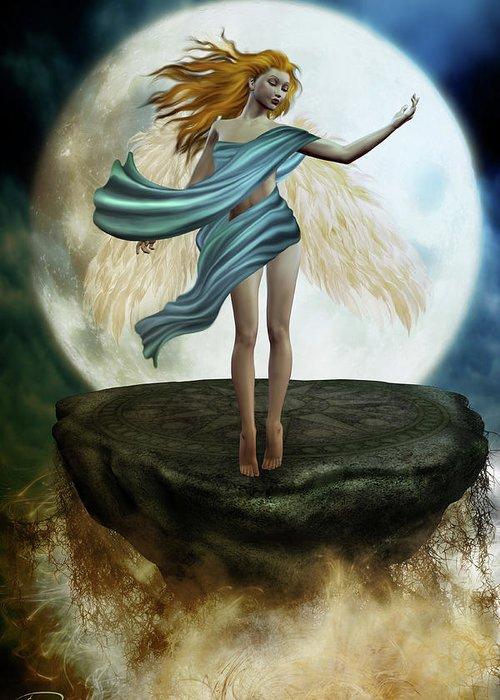 Angel Greeting Card featuring the digital art The Guardian Angel by Emma Alvarez