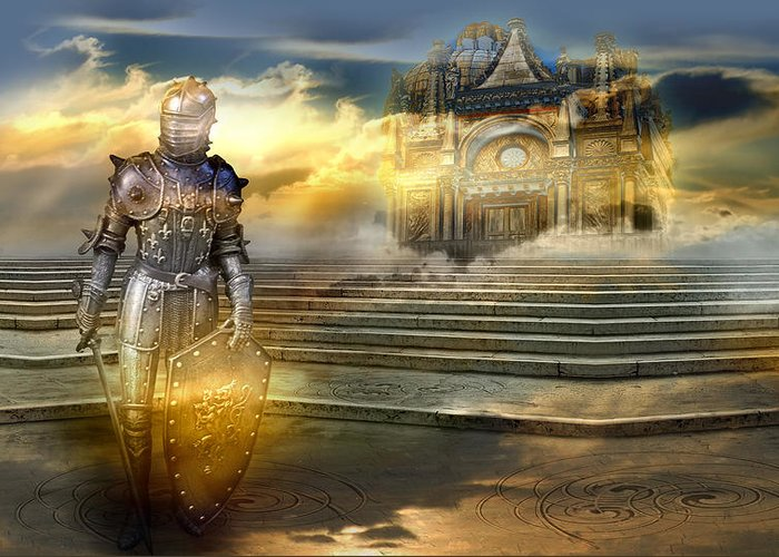 Guardian Knight Palace Court Surrealism Sky Clouds Shield Magic Aerial Castle Fairytales Fantastic Greeting Card featuring the photograph The guardian of the celestial palace by Desislava Draganova