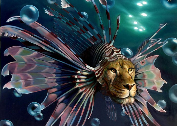 Lion Greeting Card featuring the painting The Guardian by Patrick Anthony Pierson