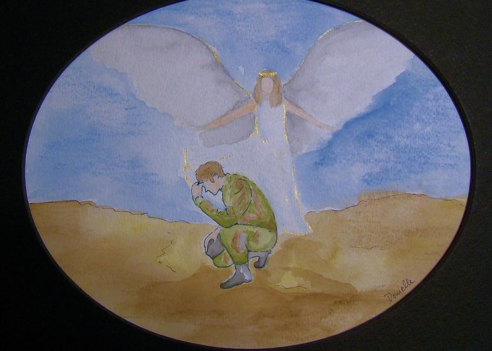 Angel Greeting Card featuring the painting The Guardians by Donielle Boal