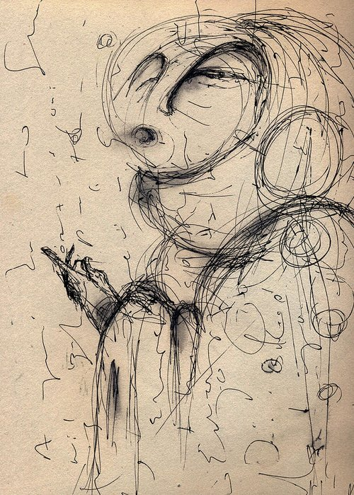 Pen And Ink Greeting Card featuring the digital art The Guide Study by Mark M Mellon
