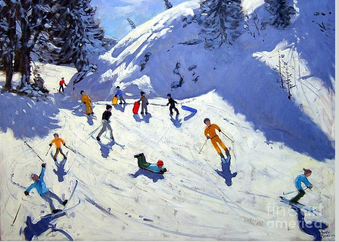 Sledging Greeting Card featuring the painting The Gully by Andrew Macara