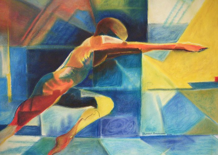 Gymnast Athlete Blue Life Male Figure Greeting Card featuring the painting The Gymnast by Benedict Olorunnisomo