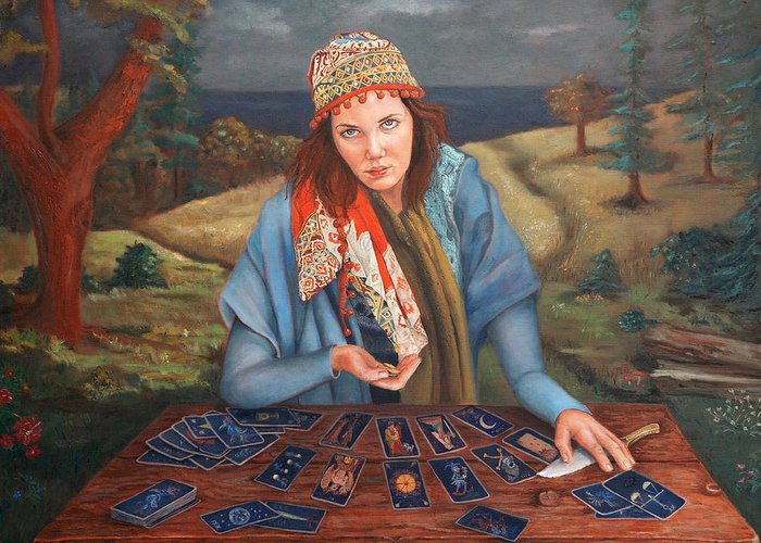 Figurative Art Greeting Card featuring the painting The Gypsy Fortune Teller by Enzie Shahmiri
