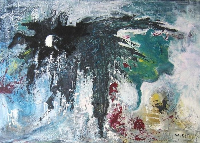 Abstract Paintings Greeting Card featuring the painting The Half Moon by Seon-Jeong Kim