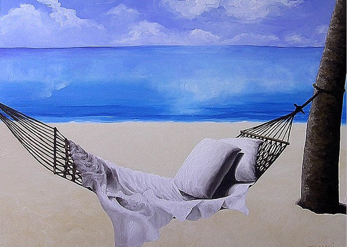 Seascape Greeting Card featuring the painting The Hammock by Trisha Lambi