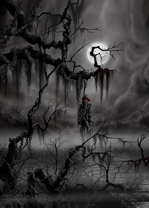 Nightmare Greeting Card featuring the painting The Hangman by James Christopher Hill