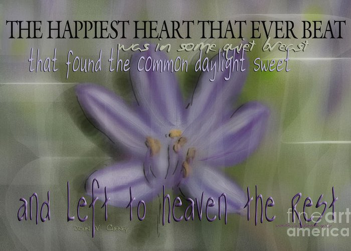 Purple Greeting Card featuring the photograph The Happiest Heart That Ever Beat by Vicki Ferrari