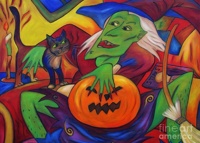 Diconnollyart Greeting Card featuring the painting The Happy Witch Cat And Pumpkin by Dianne Connolly