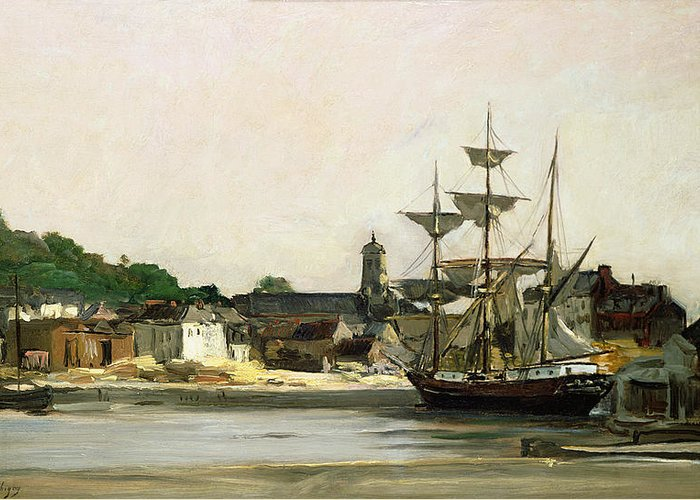 The Greeting Card featuring the painting The Harbour At Honfleur by Karl Pierre Daubigny