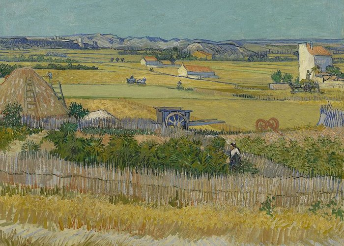 Nature Greeting Card featuring the painting The Harvest Arles June 1888 Vincent Van Gogh 1853 1890 by Artistic Panda