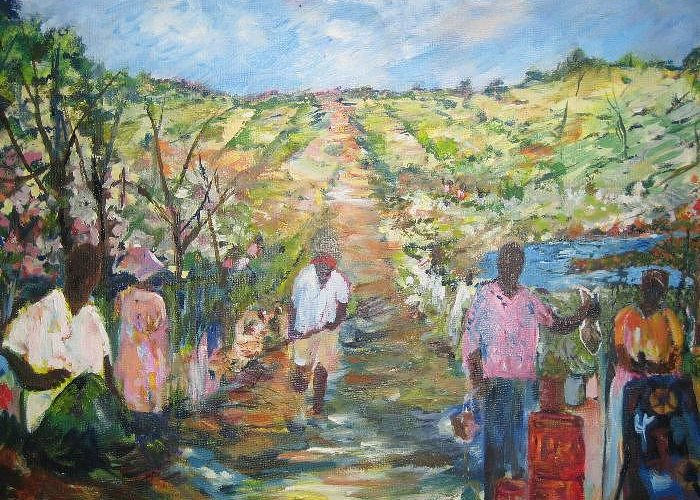 Folk Greeting Card featuring the painting The Harvest by Impressionist FineArtist Tucker Demps Collection