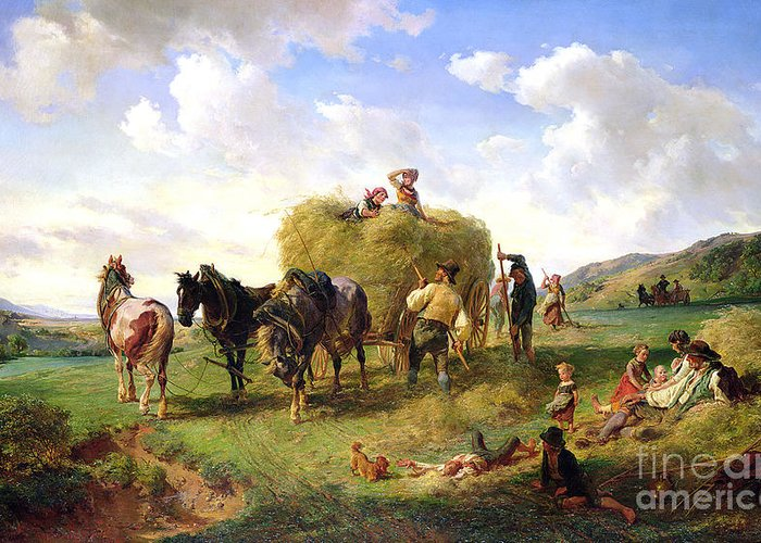 The Greeting Card featuring the painting The Hay Harvest by Hermann Kauffmann