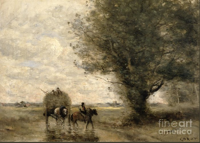 The Greeting Card featuring the painting The Haycart by Jean Baptiste Camille Corot