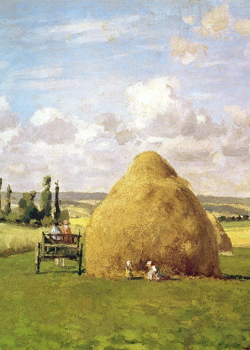 The Greeting Card featuring the painting The Haystack by Camille Pissarro