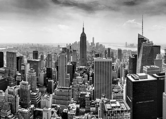 Empire State Building Greeting Card featuring the photograph New York City Skyline Bw by Az Jackson
