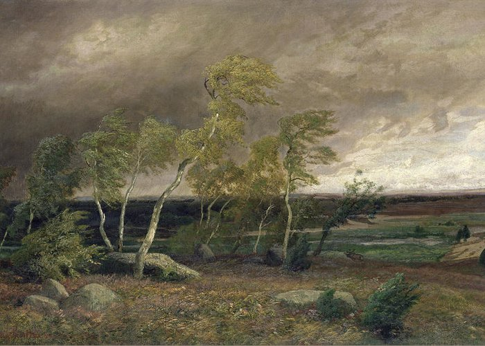 The Greeting Card featuring the painting The Heath In A Storm by Valentin Ruths
