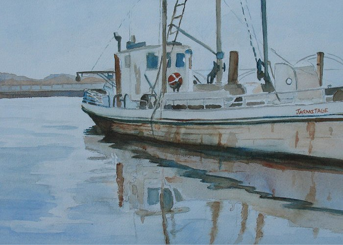 Boat Greeting Card featuring the painting The Helen Mccoll At Rest by Jenny Armitage