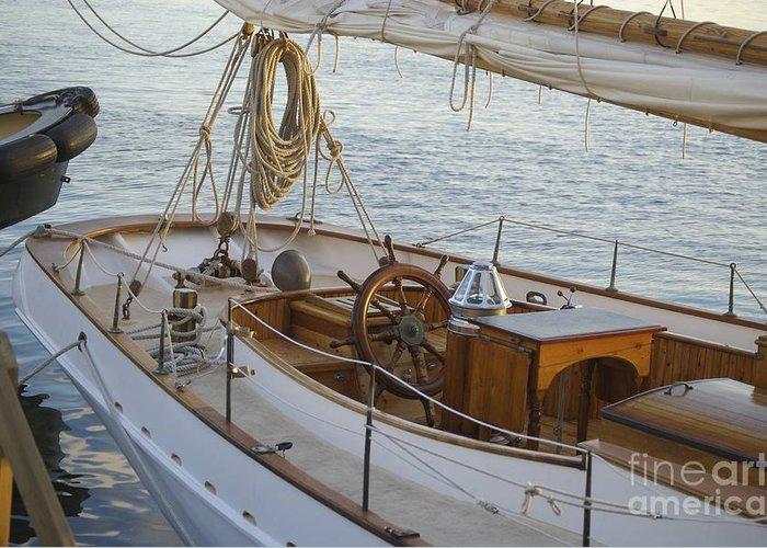 Sail Greeting Card featuring the photograph The Helm by Faith Harron Boudreau