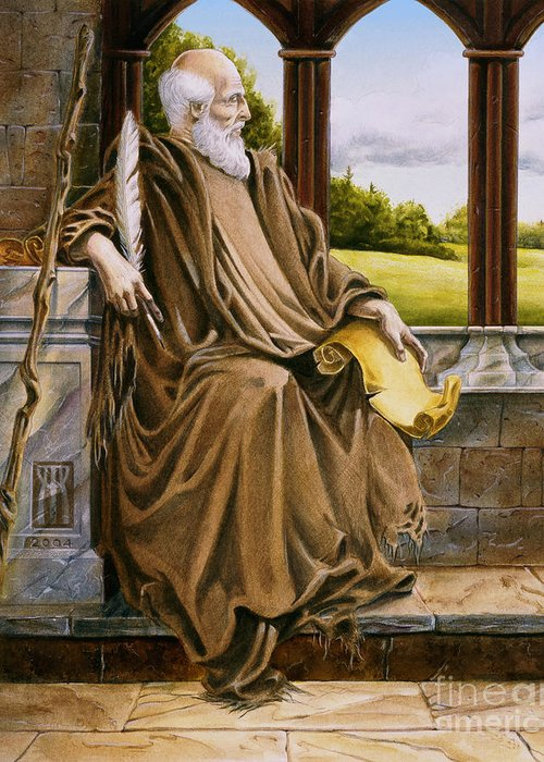 Wise Man Greeting Card featuring the painting The Hermit Nascien by Melissa A Benson