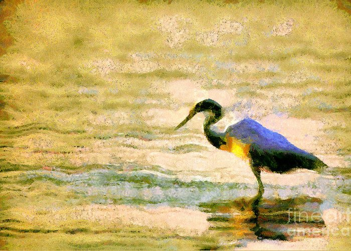 Odon Greeting Card featuring the painting The Herons by Odon Czintos
