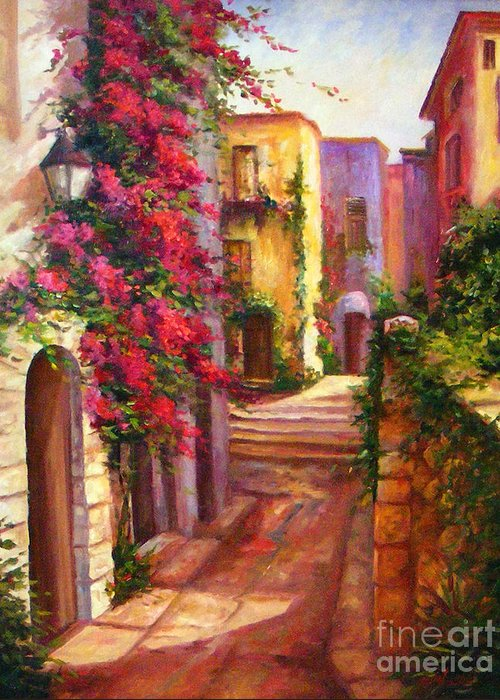 Street Scene Greeting Card featuring the painting The Hidden Street by Gail Salitui