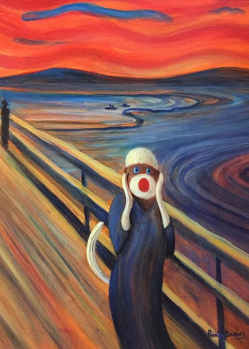The Scream Greeting Card featuring the painting The Holler by Randy Burns