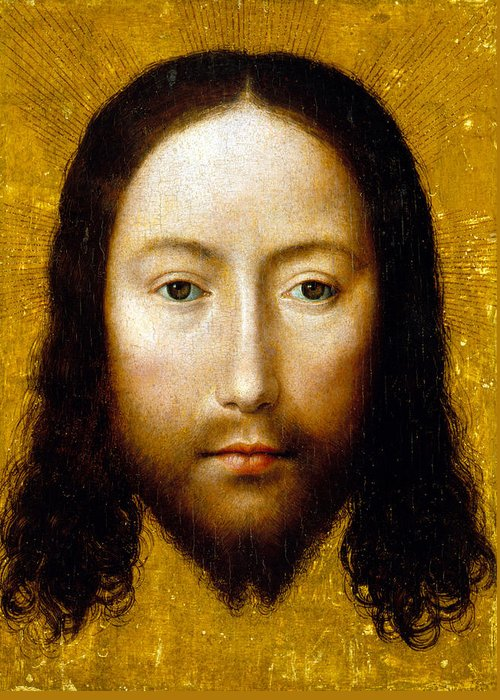 Jesus Christ Greeting Card featuring the painting The Holy Face by Flemish School