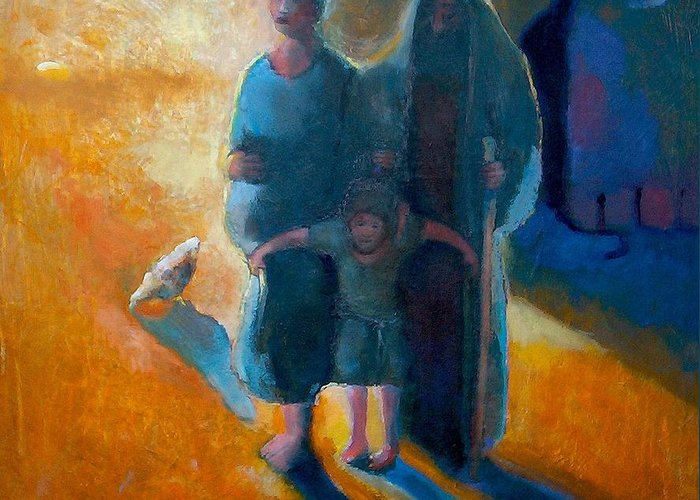 Jesus Greeting Card featuring the painting The Holy Family by Daniel Bonnell